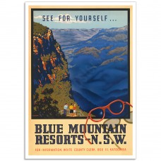 Blue Mountain Resorts NSW - Vintage Australian Tourism Poster